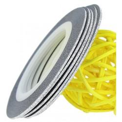 Striping Tape Glitter Silver 1st.(ca 1mm bred)