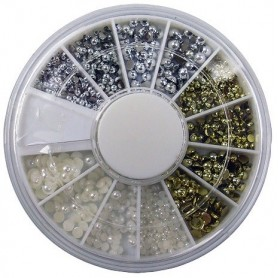 Nail Art Pearls Three Colors in wheel