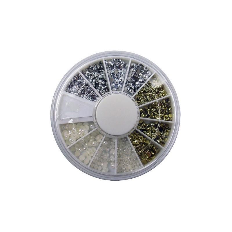 Nail Art Pearls Three Colors in wheel