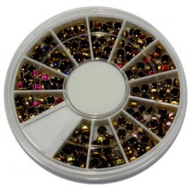 Round Rhinestones(3mm) with Gold Ring in wheel