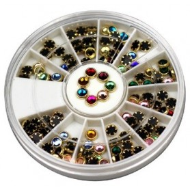 Round Rhinestones(4mm) with Gold Ring in wheel