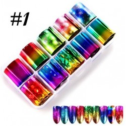 1 - Nail Art Foil Kit 10 designs