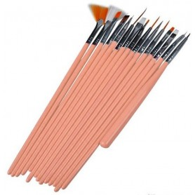 Nail art pensel set 15 delar - Light Pink