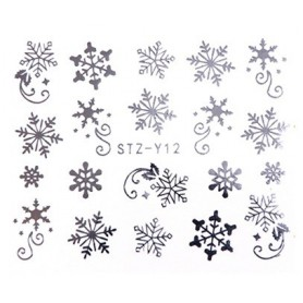 Water Tattoo Snowflakes - 012 silver