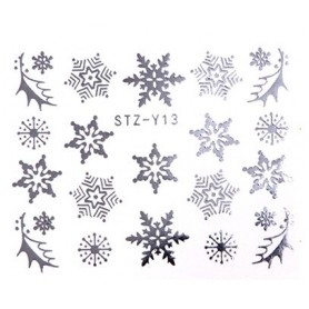 Water Tattoo Snowflakes - 013 silver