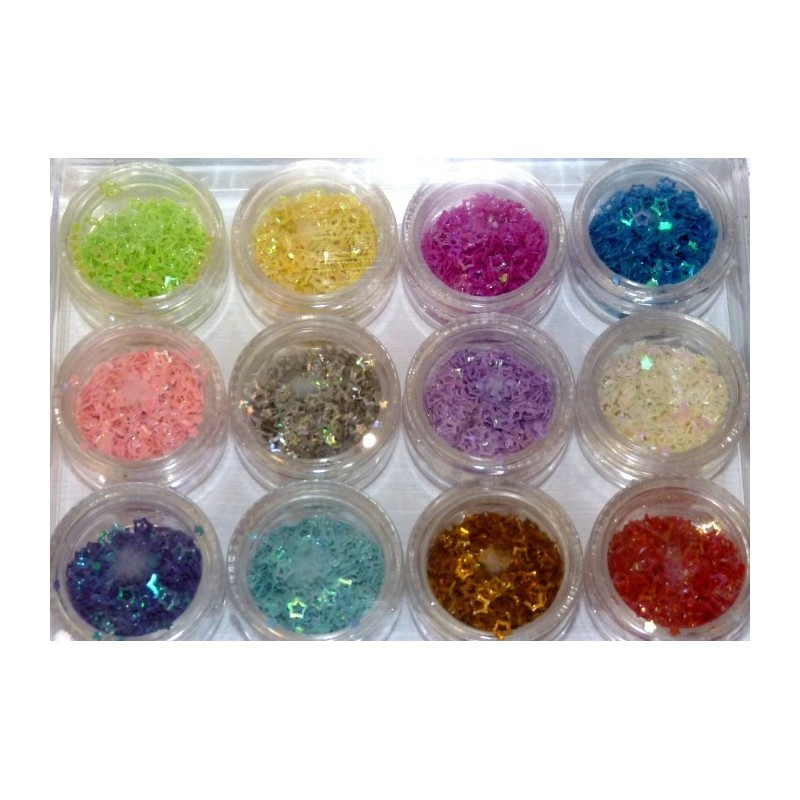 Glitter Shapes Stars Empty 12 jars set
