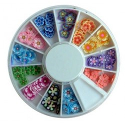Assorted Fimo Flowers-3 in Rondell