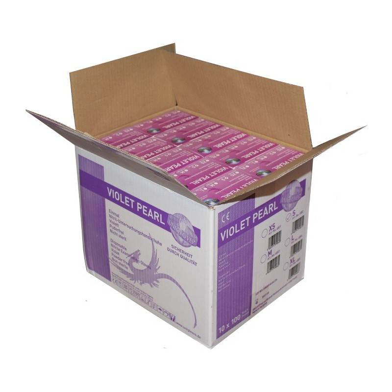 10x100pcs. Nitril Gloves - Pearl Violet . (medium/small)