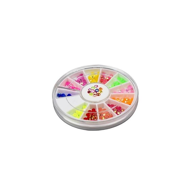 Rhinestones Round 3mm Multicolored AB in Wheel