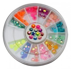 Rhinestones Round 4mm Multicolored AB in Wheel